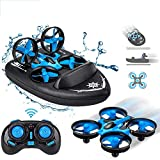 Mini Drone, Kids Toy Flying Toys RC Boats for Pools and Lakes, Remote Control Car for Kids, Sea-Land-Air Mode Switchable Hovercraft RC Quadcopter Helicopter Gifts for Boys Girls (JJRC H36F Mini Drone)