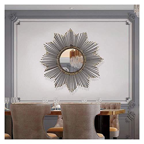 Creatieve decoratieve spiegel Hal Creative wanddecoratie WallMirror, Zwart, 80cm / 31.5inch, Wall Mirror, smeedijzer Sunburst Metal wanddecoratie Mirror, eetkamer, Living Room. Wandgemonteerde grondsp