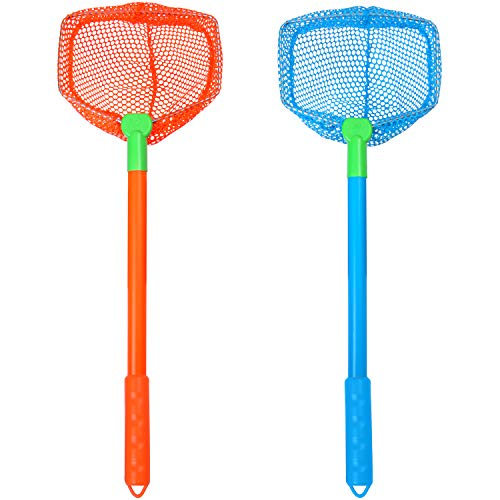 Elcoho 2 Pieces Fishing Nets Bug Net Beach Toys Nets Catch Butterflies Nets for Outdoor