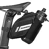 ROCKBROS Bike Saddle Bag Bike Seat Bag with Water Bottle Holder Bicycle Bag Under Seat Waterproof for Road Mountain MTB Bike