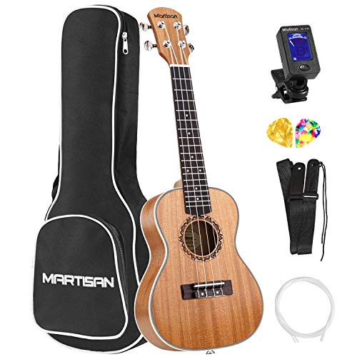 MARTISAN Konzert Ukulele 23 Zoll Professional Ukulele Hawaii Gitarre Aquila Saiten mit Anfänger Starter Pack (Stimmgerät, Saiten, Tasche, Gurt und Plektren)