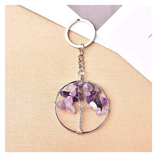 CQHUI Key Ring Natural Crystal Gemstone Tree Of Life Pendant Mineral Jewelry Key Chains Seven Chakras Bag Accessories Quartz Souvenir (Color : Amethyst, Size : 1pc)