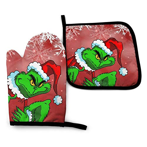 The Grinch Stole Christmas Oven Mitts And Pot Holders Heavy Duty Cooking Gloves, Kitchen Counter Safe Mats Advanced Heat Resistance
