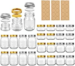Regular Mouth Mason Jars, LEQEE 24 Pack Canning Jars With Lids and Bands, Ideal for Jam, Honey, Jelly, Wedding Favors, Shower Favors, Baby Foods, DIY Magnetic Spice Jars, 4 OZ x 8, 8 OZ x 8, 16 OZ x 8