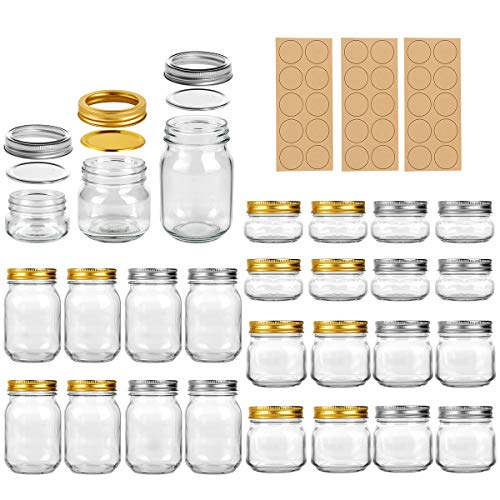 in budget affordable A LEQEE 24-pack masonry jar with a simple mouthpiece, lid and ribbon, perfect for jams and honey.