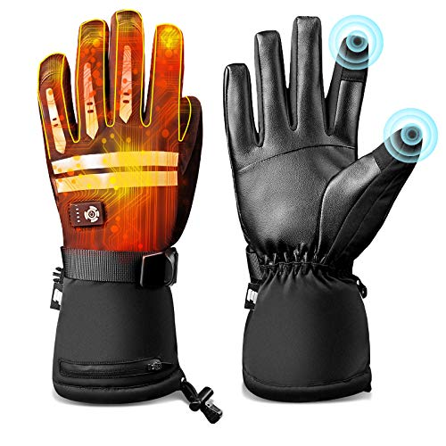 EEIEER Heated Gloves for Men Women, Touchscreen Texting Water-Resistant Rechargeable Electric Battery Thermo1 Warm Gloves for Motorcycling Snowboarding Cold Weather Hand Warmer 5 Heating Levels (XL)
