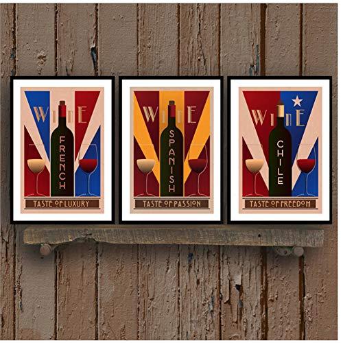 Vintage Wijn Wall Art Canvas Posters Prints Frans Spaans Chili Wijn Schilderij Muur Foto Restaurant En Bars Retro Decoratie -42x60cmx3pcs-Geen Frame