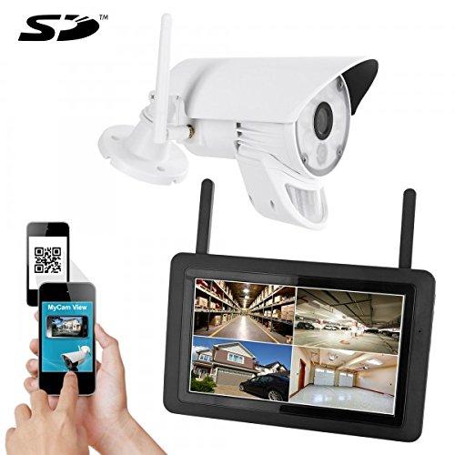 HaWoTEC Digitales HD LED Funk Video Überwachungssystem Digital Funküberwachung mit Touchscreen Monitor mit Akku
