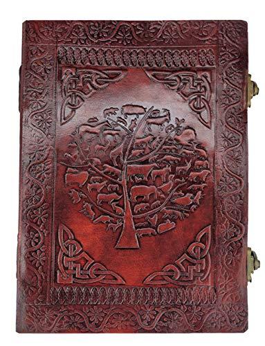 Kooly Zen – Cuaderno de notas, diario, libro, piel auténtica, vintage, árbol...