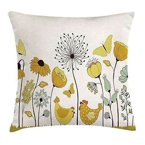 Voorjaar kussen kussensloop, Polka gestippelde kip en kip vliegen vlinders onder de lente bloemen, decoratieve vierkante Accent kussensloop, 18 X 18 inch, aarde geel en mosterd