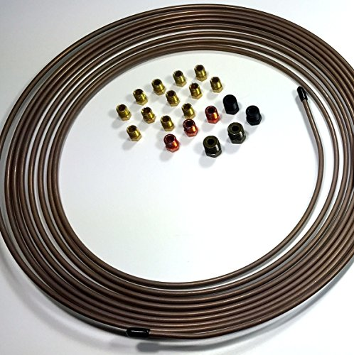 """25 Ft. of 3/16"""" (4.75 mm) Copper Nickel Brake Line with Fittings"""