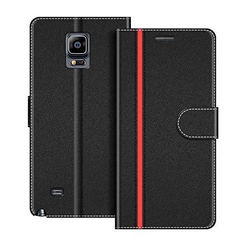 COODIO Handyhülle für Samsung Galaxy Note 4 Handy Hülle, Samsung Galaxy Note 4 Hülle Leder Handytasche für Samsung Galaxy Note 4 Klapphülle Tasche, Schwarz/Rot