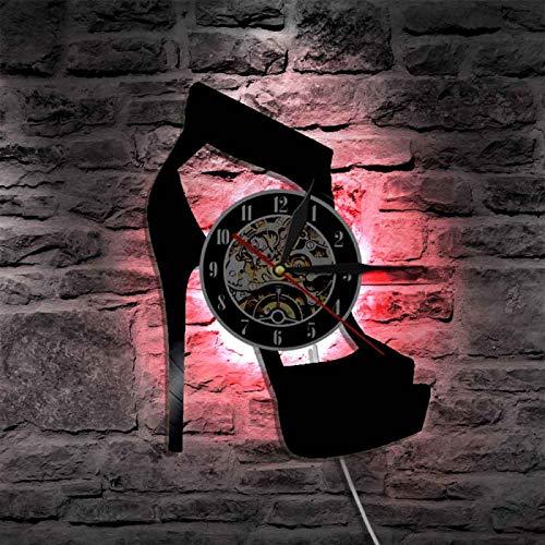 KEC Reloj de pared clásico negro con diseño de tacón alto, diseño de zapatos de pared, diseño de zapatos de tienda, letrero de negocios, de vinilo, reloj de pared, regalo de dama, relojes de pared