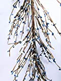 Primitive Williamsburg Blue and Cream 55 Inch Pip Rice Berry Garland Flexible and Bendable