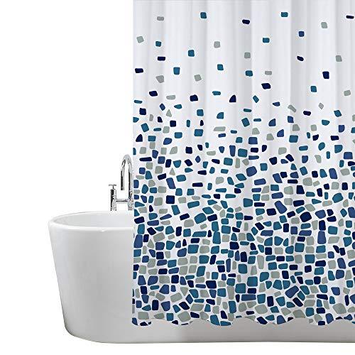 ANSIO Tenda Doccia, Tenda da Bagno, Vasca da Bagno, Antimuffa, Antibatterica, Impermeabile e Lavabile 180 x 200 cm | 100% Polyester - Motivo Mosaico - Blu
