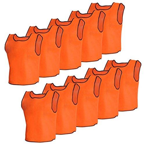 vidaXL 10 Petos Deportivos Naranjas Juveniles para Baloncesto, Futbol Entrenamiento