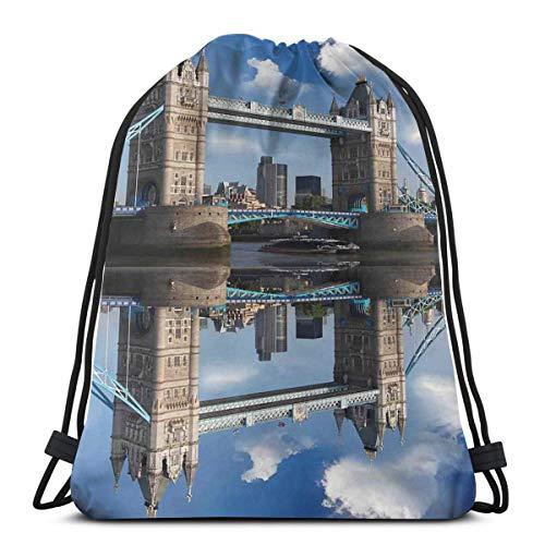 YUDILINSA Sac à Dos Cordon Sac de Gym Sackpack,Tower Bridge avec croisière en Ville en journée d'été en Miroir sur la Tamise Tranquille,Sac de Sport avec Poche pour Homme et Femme Sac à Cordonnet