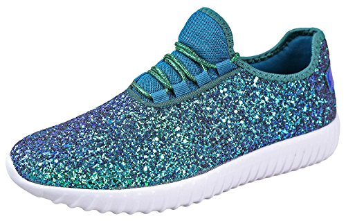 Forever Link Women's REMY-18 Glitter Sneakers Green 7