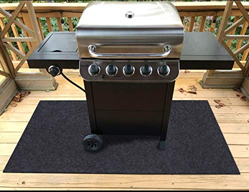 """Sensko Gas Grill Mat,Premium BBQ Mat and Grill Protective Mat—Protects Decks and Patios from Grease Splashes,Absorbent Material-Contains Grill Splatter,Anti-Slip and Waterproof Backing, (48"""" x 60"""") Covers Grill"""