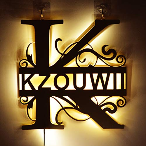 Personalized Decor Led Night Light Marquee Letter Lights Custom Wooden Engraved Name Wall Light for Bedroom Christmas Wedding - Best Gift for Family Lovers Friends