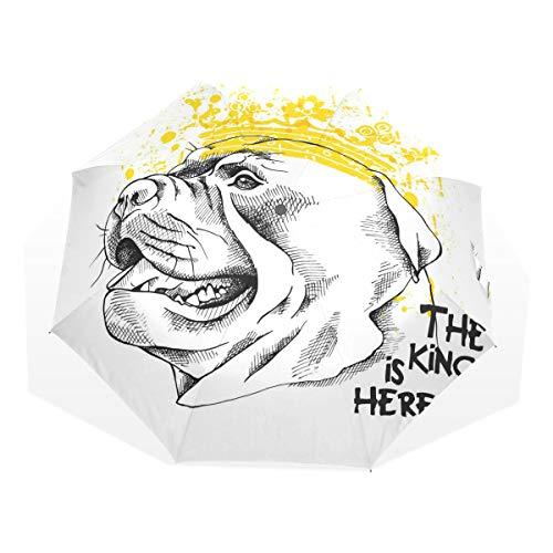 LASINSU Paraguas Resistente a la Intemperie,protección UV,Paraguas Ligero,Un Perro Staffordshire Bull Terrier con Corona Amarilla,Plegable