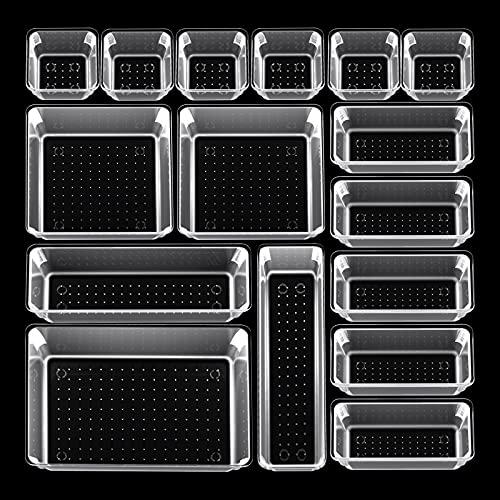 Beinhome 18 Set Organizer Schubladen Ordnungssystem Kunststoff Schubladeneinsatz Durchsichtig Aufbewahrungsbox Make up Organizer Schublade für Küche Büro Kosmetik Schminke Schminktisch, 5 Größe