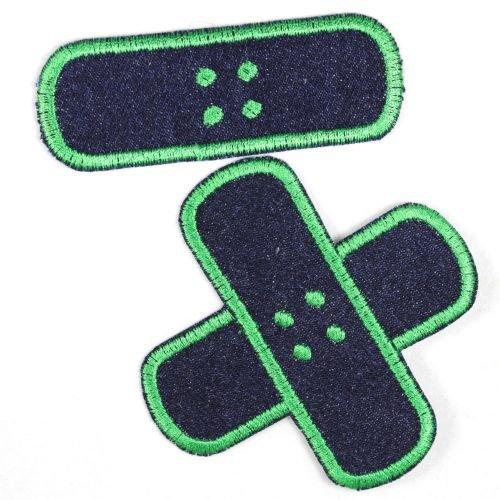 Flicken zum aufbügeln Jeans Bügelbilder Pflaster Bügelflicken blau grün Set klein mittel 2 Aufbügler Patches für Kinder und Erwachsene gestickte Flickli