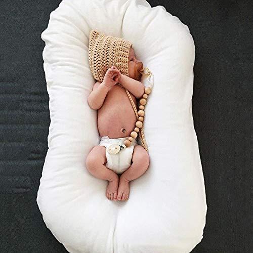 Jingmei Baby-Matratze, Kuschelnest 2-seitig,100% Baumwolle, Antiallergisch,2seitig Kokon öko Babybett Nestchen,White