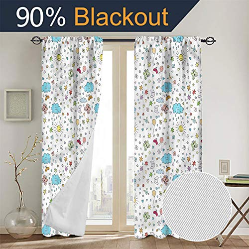 Kids,Joyful Day Nature Sketch Window Curtain 2 Panel W84 x L96 Thermal Insulated Blackout Patio Door Curtain Panel