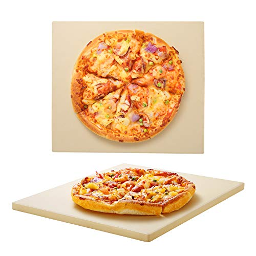 Unicook Pizzastein Rund für Gasgrill, 30cm Steinplatte für Backofen, Cordierit Backstein, Passend zum Backen von Knuspriger Pizza, Brot, Keksen und Mehr