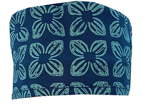 Mens and Womens Surgical Scrub Cap - Blue Hawaiian Print