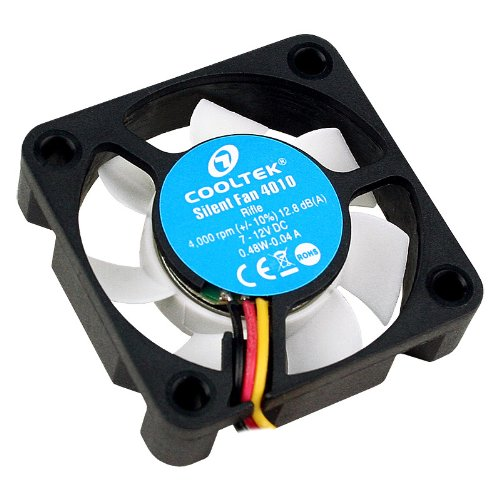 Cooltek 200400225 Silent Fan 4010, 40mm x 40mm x 10mm Lüfter, Rifle-Bearing, 12,8 dBA, 4.000 U/min, 9,3 m³/h, 3-Pin Molex Anschluss