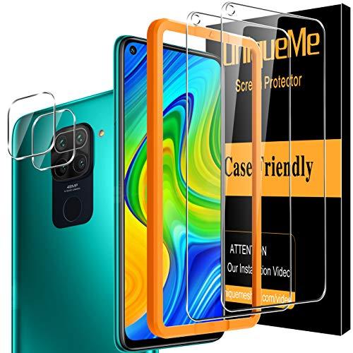 [2+2 Pack]UnqiueMe 2 Pack Schutzfolie für Xiaomi Redmi Note 9 Panzerglas & 2 Pack Kamera Folie, [Maximale Reichweite][Blasenfrei] HD Klar Gehärtetes Glas Bildschirmschutz