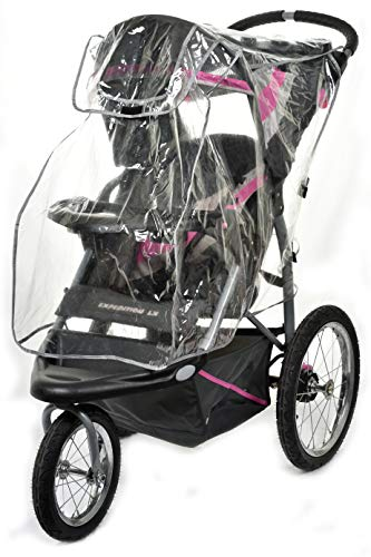 Baby Stroller Rain Cover - Weatherproof Shield to Safeguard Your Child from Wind and Rain. Universal Size, Mesh Material for Ventilation and Reflective Trimming for Night Visibility. (Clear Vinyl)