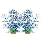 Smoothedo-Pets Las plantas de acuario Decoraciones de Tanque de Peces Pequeñas Planta Artificial De Plástico Pez Acuático Paisaje Acuático Peces Esconde Mini Coral (Azul Cory