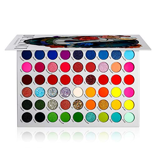 DE'LANCI Glitzer Lidschatten Palette Bunt - Matt und Schimmer 54 Farbe Hochpigmentierte schminkpalette lidschatten - UV Grow Blacklight Neon Eyeshadow Make Up Kosmetik Langlebig Wasserdicht