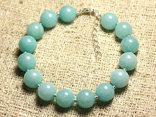 LOVEKUSH Pulsera redonda de plata de ley 925 al por mayor de 10 mm de jade azul, lisa, 19 cm para hombres, mujeres, gf, bf y adultos.