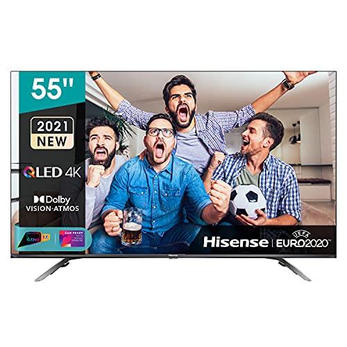 "Hisense 55"" QLED 4K 2021 55E78GQ, Quantum Dot, Smart TV VIDAA 5.0, HDR Dolby Vision, Audio Dolby Atmos, Controlli vocali Alexa / Google Assistant, Tuner DVB-T2/S2 HEVC 10, lativù 4K"