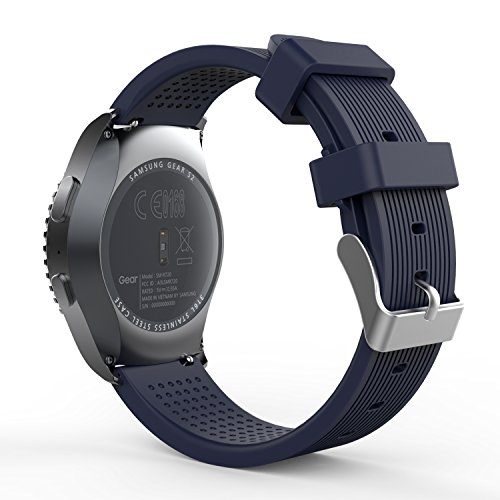 MoKo Gear S2 Classic Cinturino, 20mm Morbido Braccialetto Sportivo di Ricambio in Silicone per Garmin Vivoactive 3/Galaxy Watch 42mm/Galaxy Watch Active/Active 2/Ticwatch E, Blu Notte