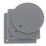 Joyhalo Silicone Trivet Mats Pot Holder Hot Pads Plate Holder Heat Resistant Non-Slip Gripper Pad Garlic Peeler Drying Mat Coasters, Gray