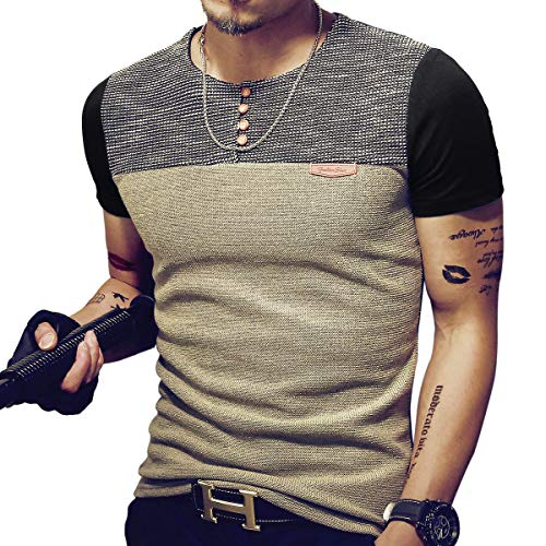 LOGEEYAR Mens Premium Fitted Short-Sleeve Contrast Color Stitching T-Shirt (X-Large, Black)
