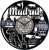 ZZLLL España Madrid Reloj de Pared con Disco de Vinilo Reloj de Pared silencioso de Estilo Retro Decoración del hogar Arte único Accesorios Especiales para el hogar Personalidad Creativa