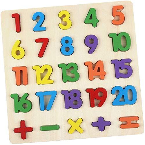 Zahlen-Holzpuzzle Grosse Bunte Nummern 1-20, Holzspielzeug für Spielerisches Lernen von Zahlen, Motorikspielzeug ab 2 Jahre Rahmenpuzzle Geschenk für Kinder, Kinderpuzzle für Spiel Spaß