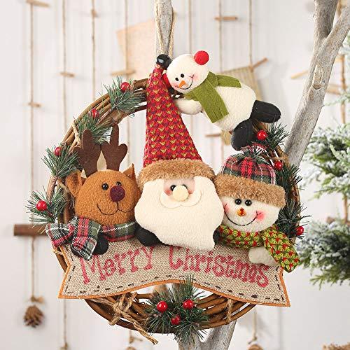 Corona de Navidad de Ajboy, muñeco de nieve y ciervo, adorno para decoración de la puerta de la pared, Merry...