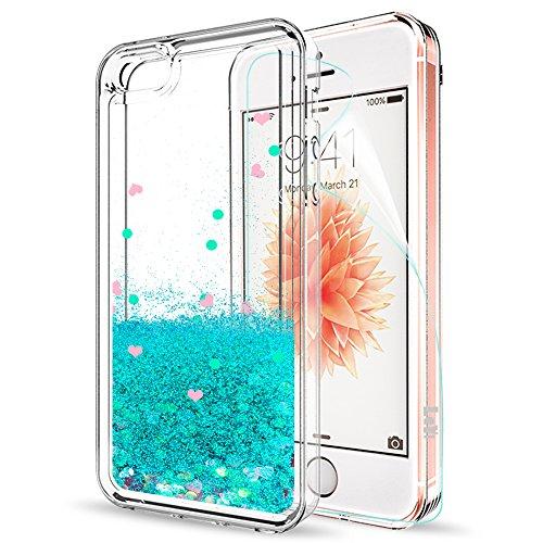 LeYi Hülle iPhone 5S / iPhone SE/iPhone 5 / iPhone SE 2 Glitzer Handyhülle mit HD Folie Schutzfolie,Cover TPU Bumper Treibsand Clear Schutzhülle für Case iPhon 5S Handy Hüllen ZX Turquoise