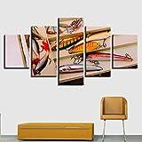 Cuadros Decoracion Salon Modernos 5 Piezas Lienzo Grandes XXL Murales Pared Hogar Pasillo Decor Arte Pared Foto Innovador Regalo Cebos de señuelo de...