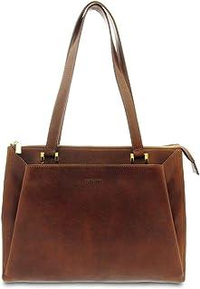 GIUDI ® - Borsa Donna in vacchetta, classica, a spalla, tracolla, Made in Italy, vera pelle. (Marrone)