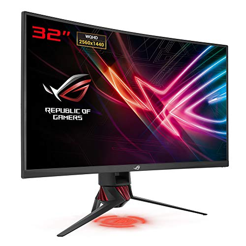 ASUS ROG Strix XG32VQ 81,28 cm (32 Zoll) Gaming Monitor (Curved, WQHD, 144Hz, HDMI, DisplayPort, Mini-DP, 4ms Reaktionszeit) dunkelgrau/rot