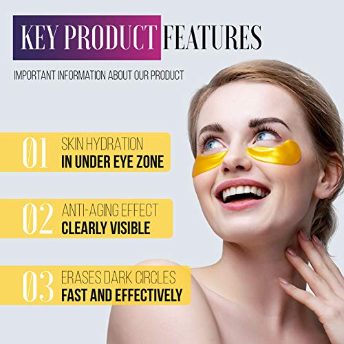 51wMznKJ1aL - Under Eye Patches - 24Karat Gold Under Eye Mask Anti-Aging Hyaluronic Acid Collagen Under Eye Pads Reducing Dark Circles & Wrinkles Treatment Gel Bags, 20 Pairs