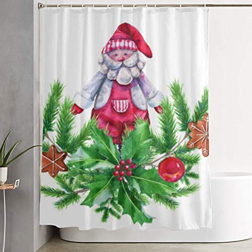 Janrely Shower Curtain,Stock Photo Christmas Gingerbread Garland with a,Bathroom Curtain Washable Bathroom Curtain Polyester Fabric with 12 Plastic Hooks 180x180cm
